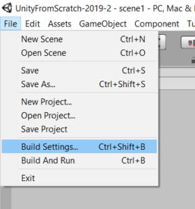 Меню File -> Build Settings... Unity